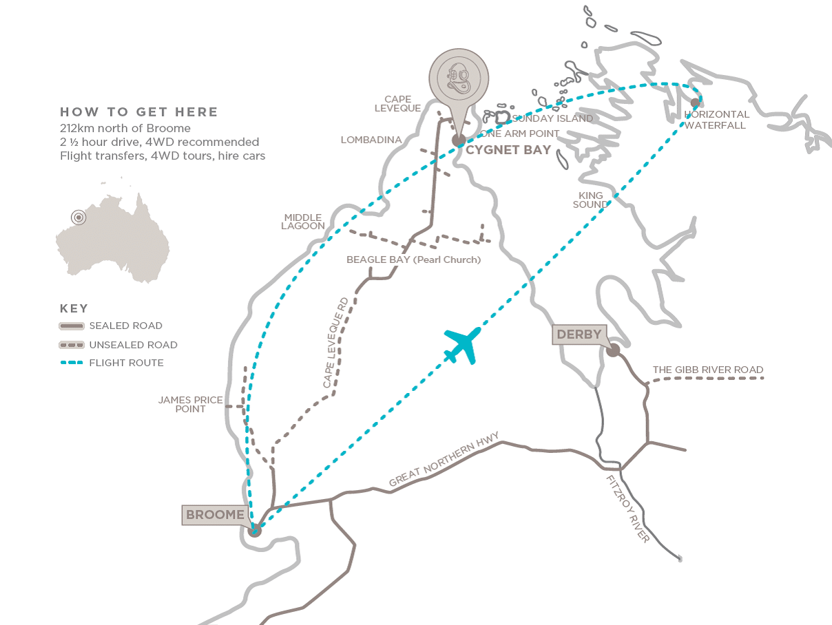 Flight path from Cygnet Bay from Broome