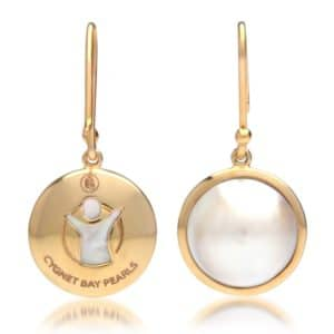 gold pearl earrings hook