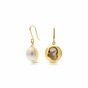 gold pearl hook earrings