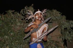 Indigenous Australian man dancing at Shinju Matsuri Festival in Broome