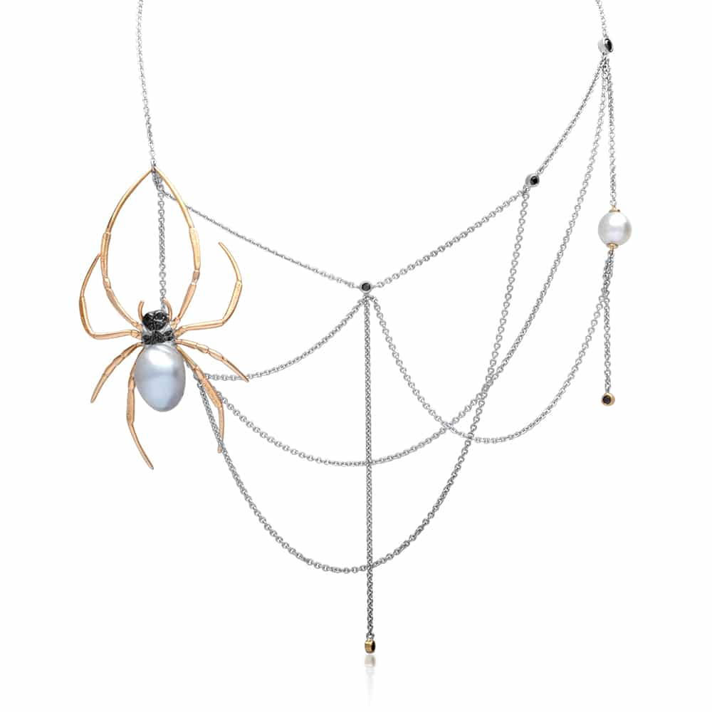 Spider necklace design with pearl