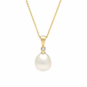 south sea drop pearl diamond pendant