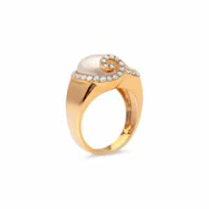 18ct Yellow Gold South Sea Keshi Pearl Ring