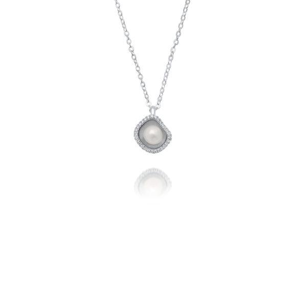 South Sea Keshi Pearl Diamond Pendant