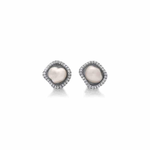 9ct White Gold Diamond Keshi Studs